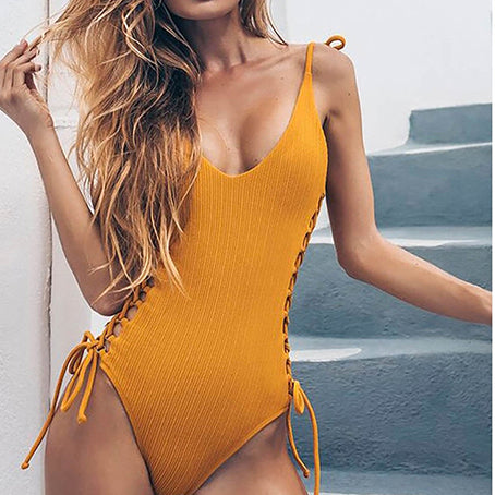 Lace Up Sexy Bikini Push Up One Piece Swimsuit Female Monokini String Swimwear Women One-piece Suits Swim Suit