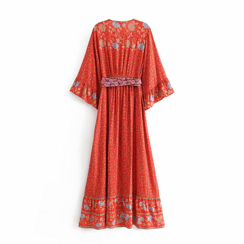 Boho Hippie Beach Dress Red Floral Print Women Dresses Bohemian Maxi Dress Women's Clothing Long Dresses Gown