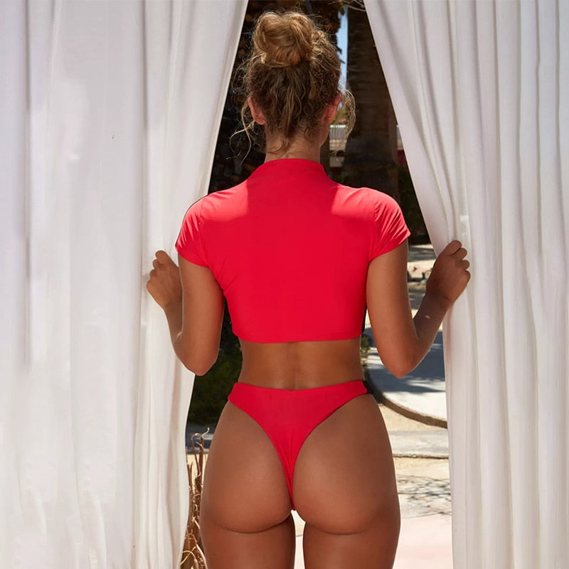 Brazilian Thong Bottom Bikini Set Sports Swimwear Zipper Red Female Swimsuit Push Up Sexy Bathing Suit
