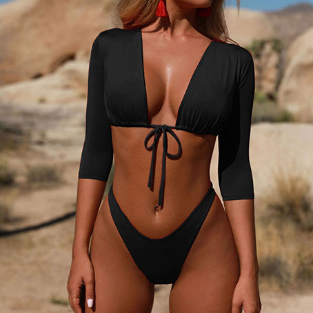 Long Sleeve Swimsuit Solid Brazilian Swimwear Women High Cut Thong Bikinis Mujer Bondage Bathing Suit Sexy Beach Wear
