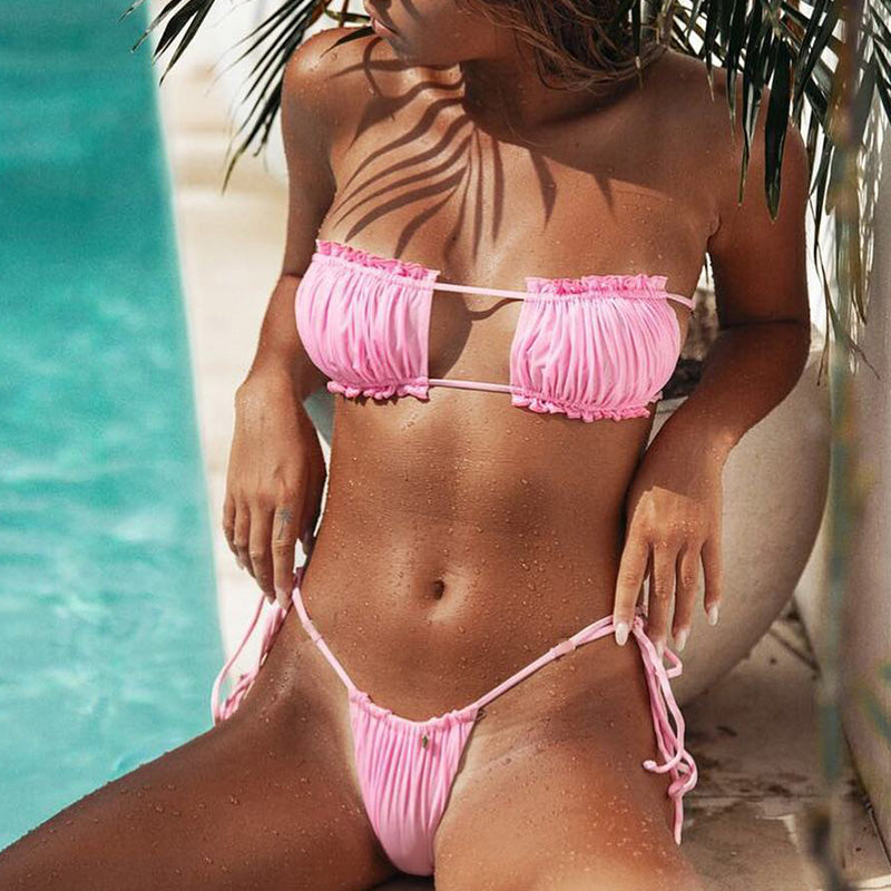 Brazilian Thong Bikini Sexy Swimsuit Female Bathers Push Up High Cut Swimwear Summer Biquini Neon Bathing Suit