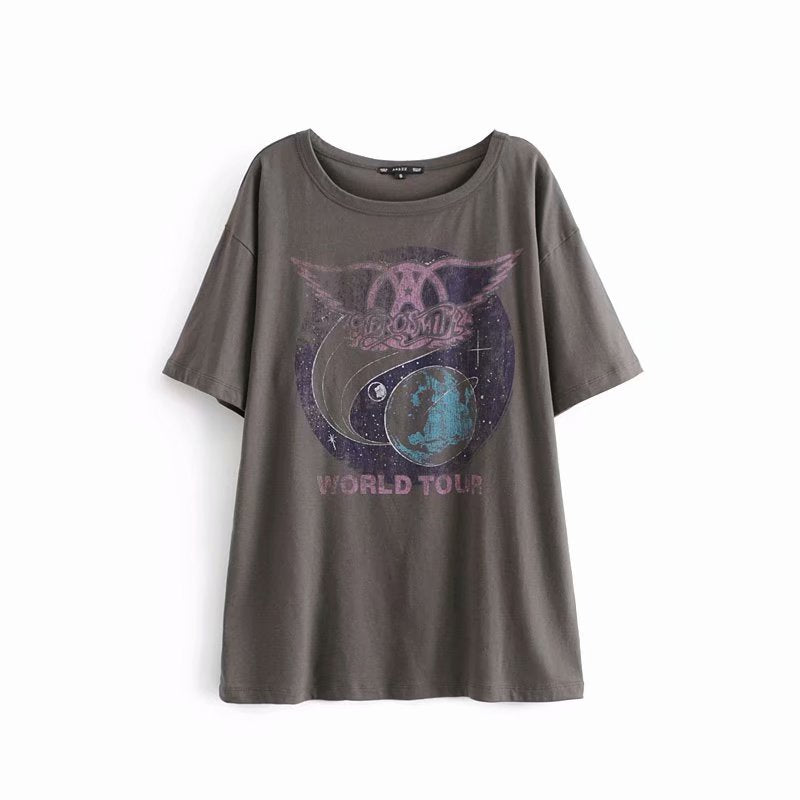 Oversized Boyfriend Tee Planet Print Graphic Women Shirt Top Boho Casual Mini T-Shirt Dress Tops Tees Shirts Blusa