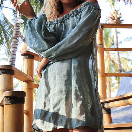 Beach Dress Long Sleeve Cover-ups Beachwear Women Swimsuit Off Shoulder Cover Up Swim Tunic Robe De Plage
