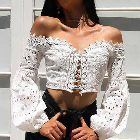 Beach Dress White Lace Cover Ups Off Shoulder Women Cover Up Lace Up Lantern Sleeve Crop Top Sexy Beach Dress
