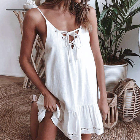 Sexy Beach Dress Ruffle Cover Ups Women Lace Up Swimsuit New Beach Wear Large Size Tunic Female Dress Cover Up