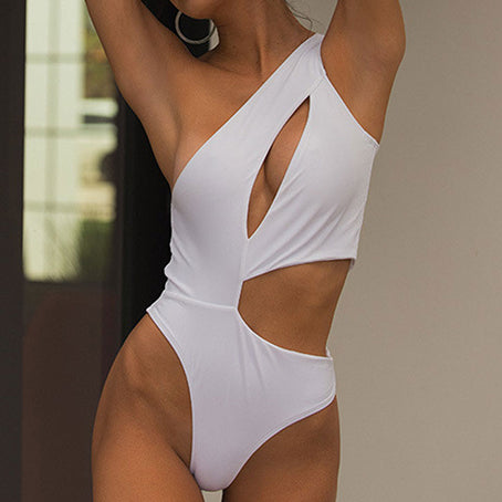 Sexy One Shoulder Swimsuit One Piece Hollow Out Swimwear Women Monokini High Cut Swimsuit Female Bathing Suit Bodysuit