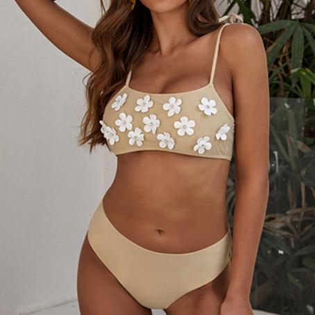 Vintage Swimsuit With Flowers Solid Sexy Bikini Bandeau Swimwear Women Bathers Tie Up Bathing Suit Biquini New