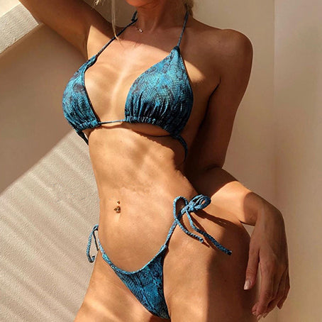 Sexy Micro Bikini Snake Print Swimsuit Female Tie Up Swimwear Women Bathing Suit Bathers Swimming Suit Women