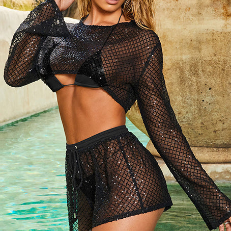 Sexy Transparent 4 Piece Bikini Mesh Long Sleeve Swimsuit Female Sequin Short Crop Top Shorts Swimwear Women Swimsuit