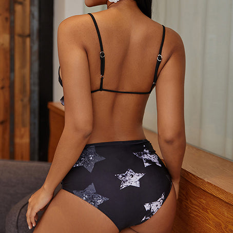 Retro High Waist Bikini Star Print Swimsuit With Ruffles Triangle Swimwear Women Bathers Tie Up Bathing Suit