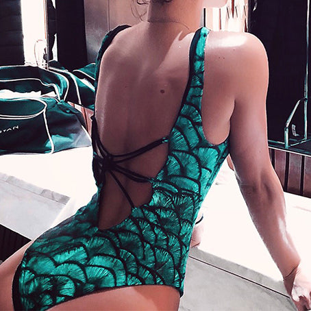 Deep V Neck One Piece Swimsuit Female Lace Up Print Bodysuit Women Backless Monokini High Cut Swimwear Women Bathers