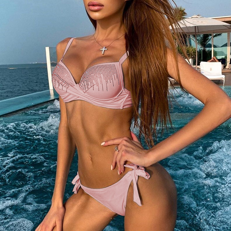 Sexy Rhinestone Bikini Push Up Swimsuit Female Knot Bathing Suit Brazilian Bikini Bathers Beach Swimwear