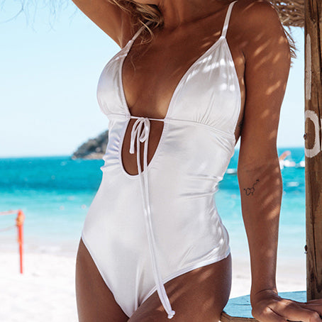 Sexy Print One Piece Swimsuit Female String Monokini V Neck Bikini Ruffle Swimwear Women Backless Bodysuit One-piece Suits