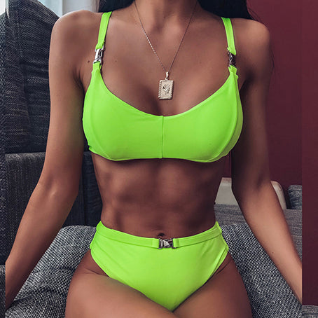 Neon Bikini  Sexy High Waist Swimsuit Female Buckle Swimwear Women Bathers Brazilian Bikinis Bathing Suit