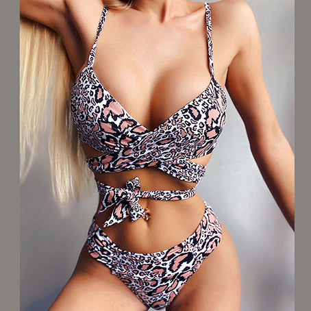 Leopard Print Bikini Set Bandage Swimsuit Female Brazilian Bikinis Vintage Swimwear Women Bathers Bathing Suit