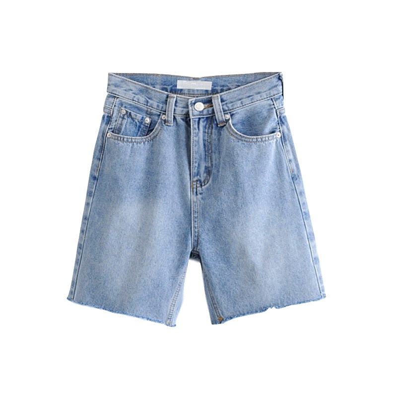High Waist Slim Denim Shorts Bermuda Plus Size Woman New Fashion Tassel Tight Five-point Denim Shorts