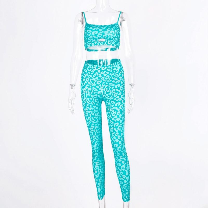 Print Stretchy Camis Leggins 2 Two Pieces Set Women Casual Sprotswear Slim Tracksuit