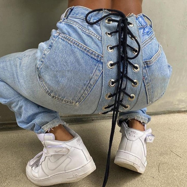 High Waits Bandage Sexy Jeans Women Fashion Streetwear Outfits Trousers