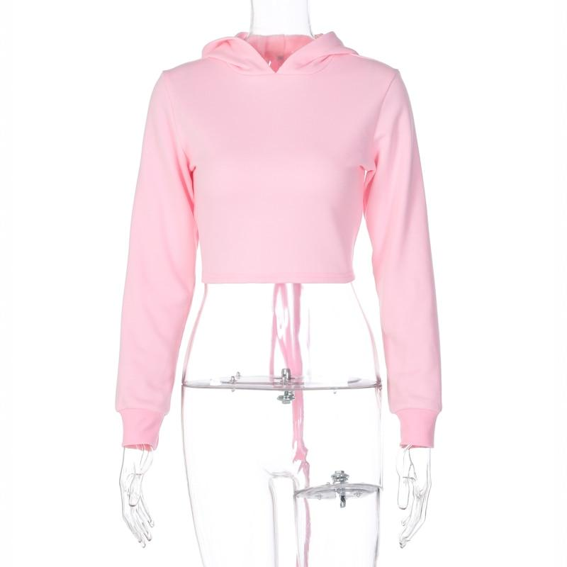Long Sleeve Hooded Bandage Sexy Crop Top Sweatshirt Women Fashion Streetwear Outfits Pink Pure Tees