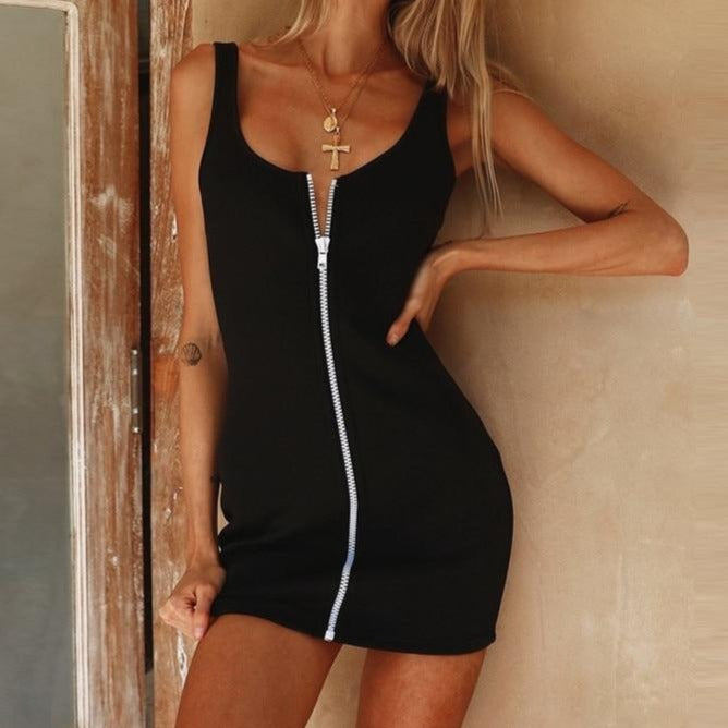 Sleeveless V-neck Zipper Backless Sexy Bodycon Mini Dress Women Fashion Black Party Clothes