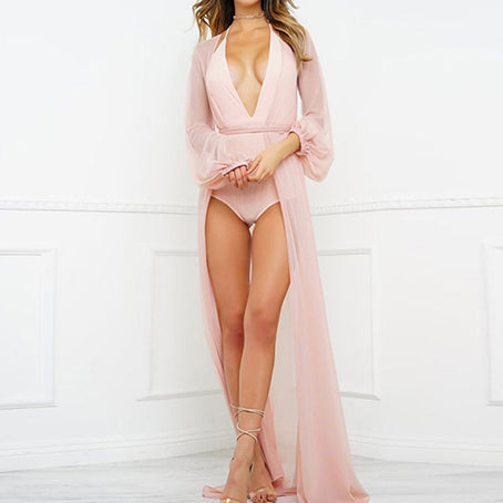 Sexy Chiffon Beach Dress Transparent Pink Cover-ups Tunic Women's Beach Capes Gossamer Cover Up Saida De Beach Bikini