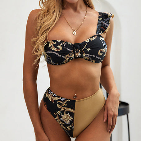 Vintage High Waist Bikini Set One Shoulder Swimsuit With Ruffles Patchwork Swimwear Women Bathers Bandeau Push Up Biquini