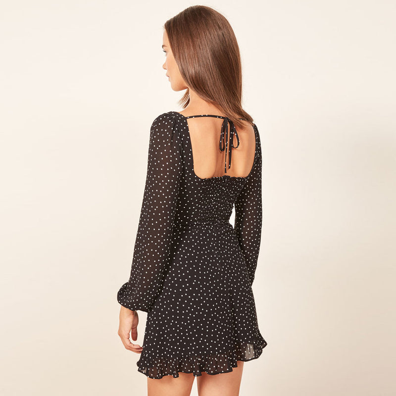 Black Polka Dot Print Dresses Sexy V-Neck Backless Short Dresses Women Long Sleeve Casual Mini Dress Vestidos