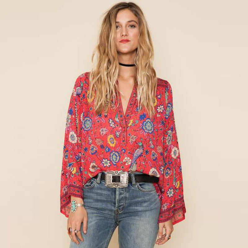 O-Neck Long Flare Sleeve Blouses Boho People Hippie Women Top Red Floral Print Shirts Chic Blusas Casual Beach Shirt Tops
