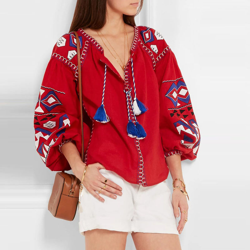 Red Embroidered Blouse Shirt Long Lantern Sleeve V-neck Tassels Women Shirts Top Chic Ukraine Blouses Tops Blusas