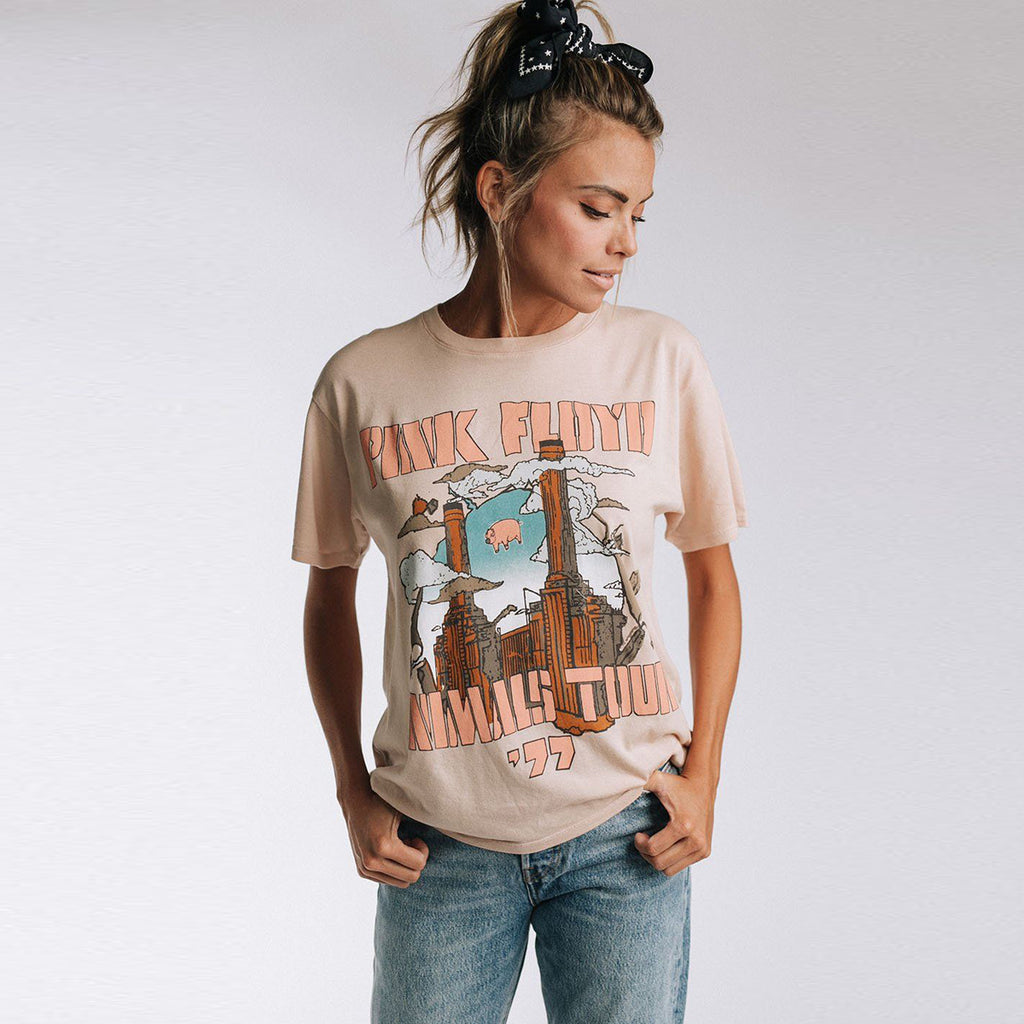 Vintage Animals Tour Boyfriend Tee Short Sleeve Shirt Top Round Neck Pullover Women Top T-Shirts Boho Beach Blusa