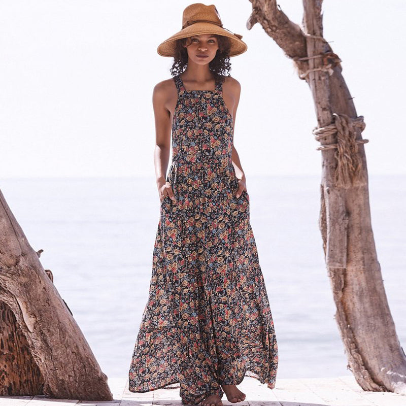 Vintage inspired Floral Print Dress Sexy Crossed Back Gorgeous Maxi Dresses Boho Casual Beach Dress Women Vestidos