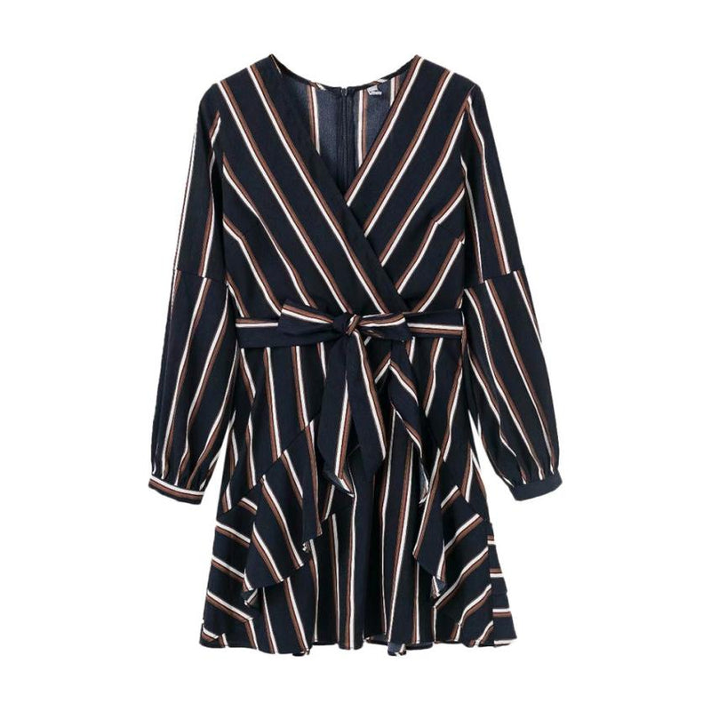 Women's Fashion Lantern Sleeve Casual Striped V-Neck Dress Casual Ruffle Mini Party Dress