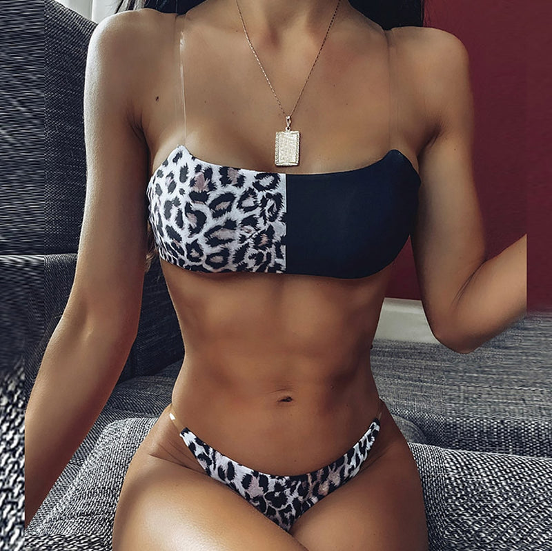 Women's Bikini Leopard Set Two Piece Filled  Bra Beachwear Swimming Pool Sea Daily Swimwear