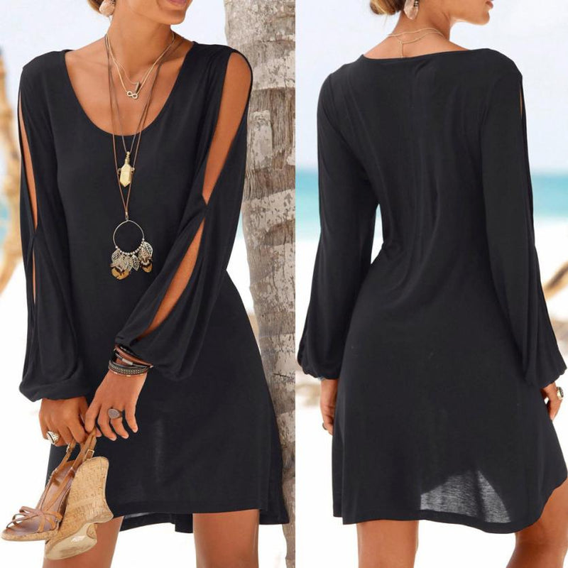 Fashion Women Casual O-Neck Hollow Out Sleeve Straight Dress Solid Beach Style Mini Dress