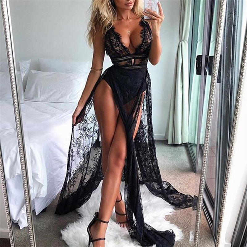 Women Sexy Lace Perspective Sleeveless Solid Sling Dress Evening Party Club Long Dress