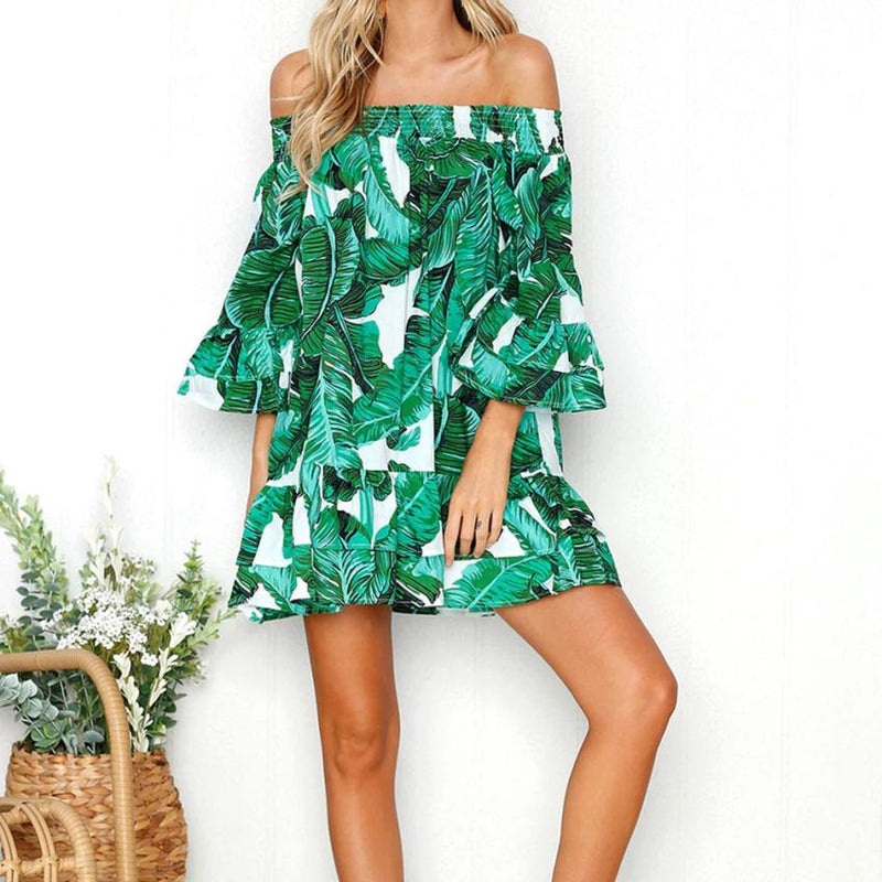 High Quality Girl Sexy Leaves Printing Off Shoulder Half Sleeve Dress Princess Dress
