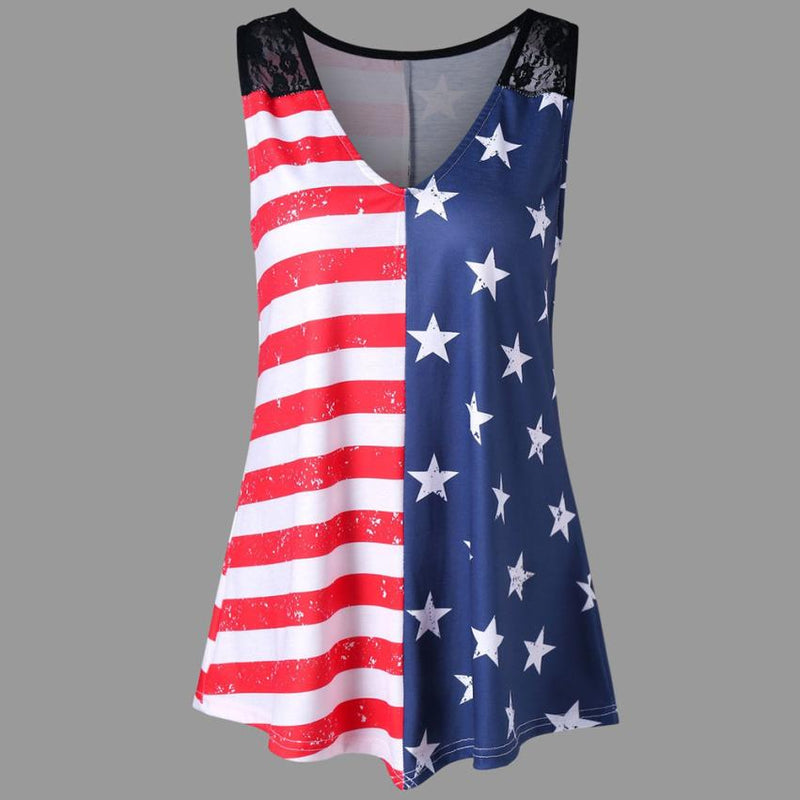 High Quality Fashion American Flag Print Lace Insert V-Neck Tank T-Shirt Summer Tops for Women