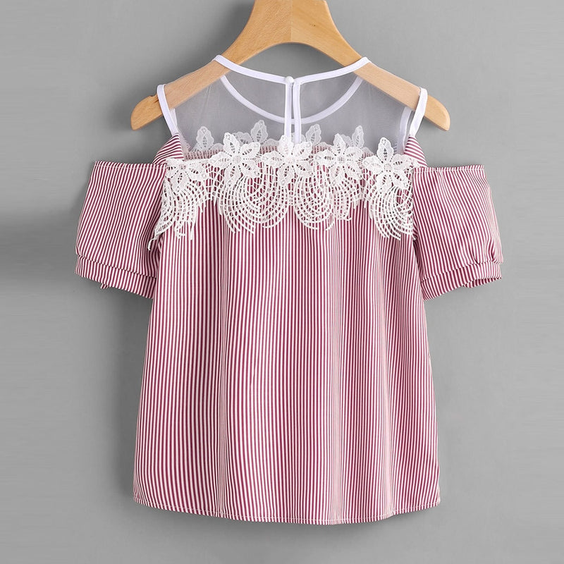 Tops High Quality Girl Short Sleeve Off Shoulder Lace Striped Casual T-Shirt Tops for Women