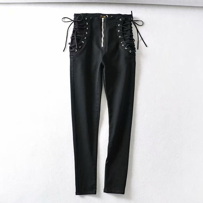 Sexy High Waist Strap Zipper Jeans Woman Spring Korean Version Of The Large Size Slim Slim Pencil Nine Points Pants