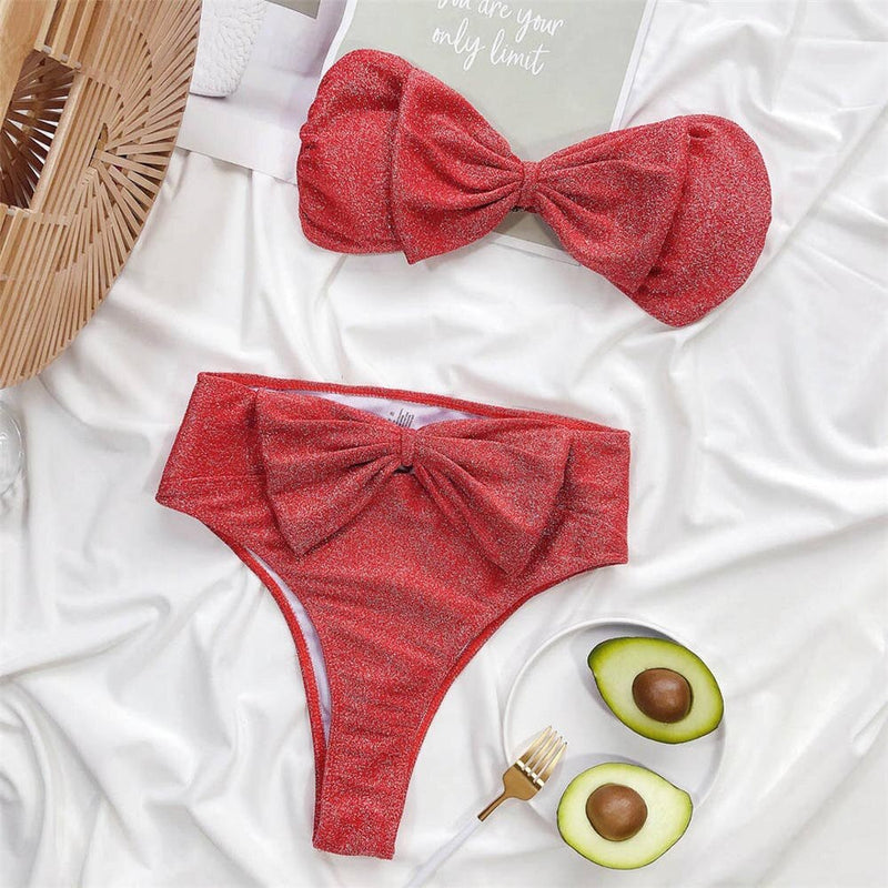 Bow Strapless Bikini New Female Swimsuit Women High Waist Swimwear Two-pieces Bikini Set Bandeau Bather Bathing Suit Swim