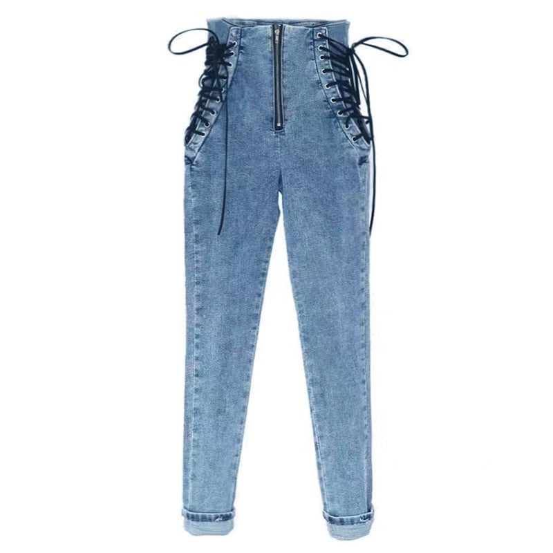 High Waist Hips Tight Jeans Female Sense Europe And The United States Slim Feet Pants Nine Pants