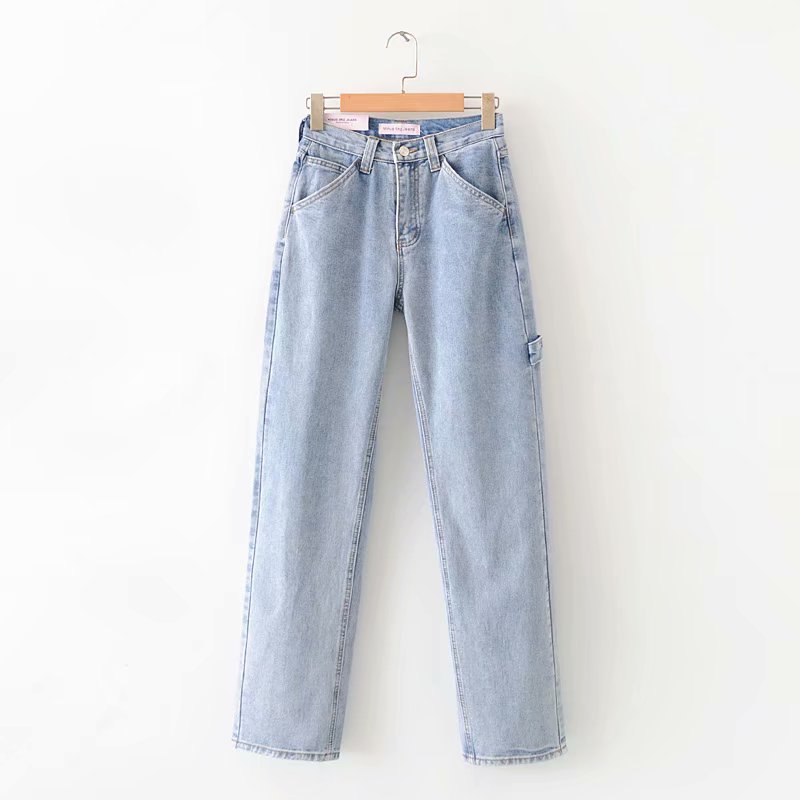 Light Blue Washed Retro High Waist Straight Overalls Slim Long Loose Wide Leg Jeans Women