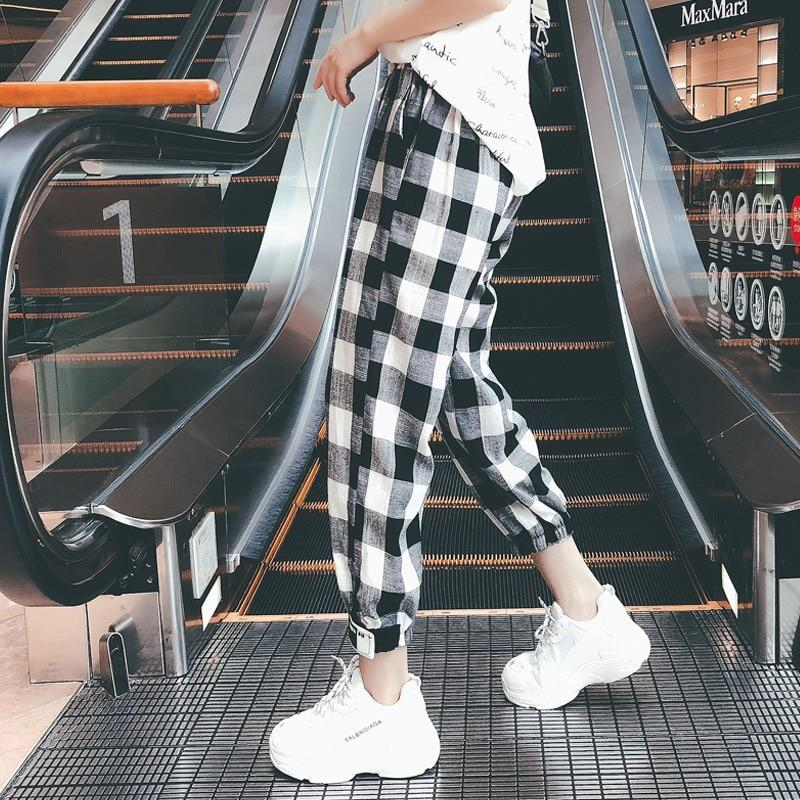 Plaid Harem Pants Women Casual Pants Clothes Loose Drawstring Pants For Women