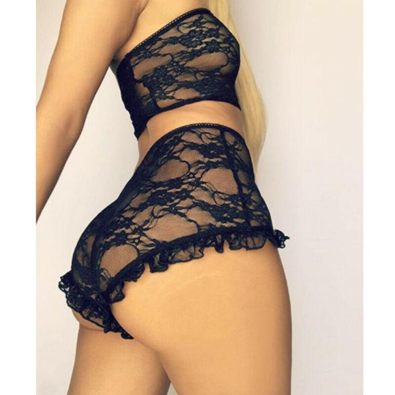 Sexy Women Lingerie Set Lace Tulle Ruffles Sleepwear Babydoll Sexy Mesh Sheer Underwear Nightwear Exotic Set