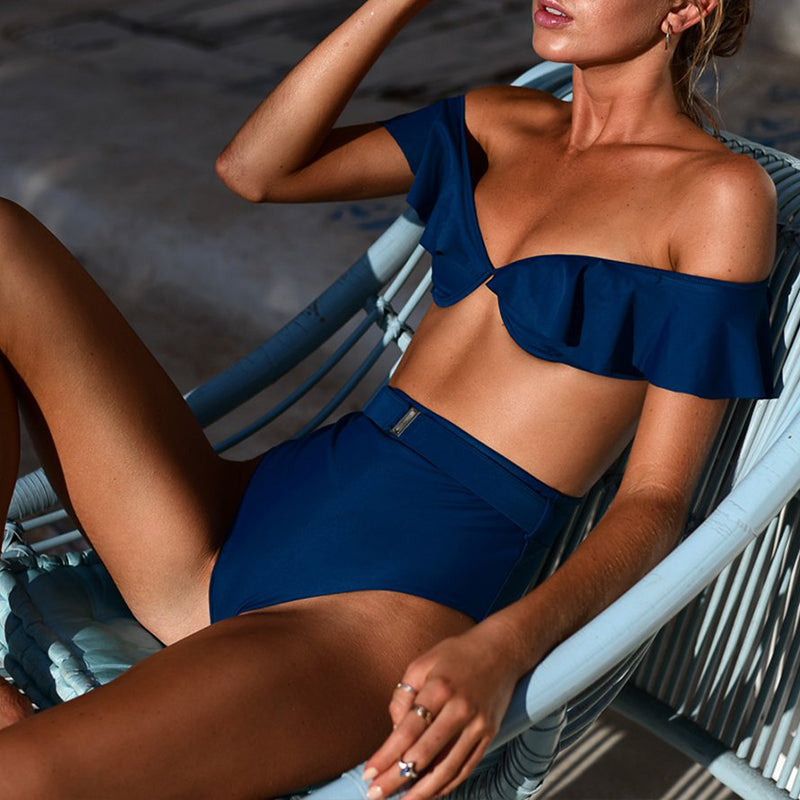 ruffled swimsuit female Sexy deep v bathing suit women bathers High waist bikini Push up off shoulder swimwear