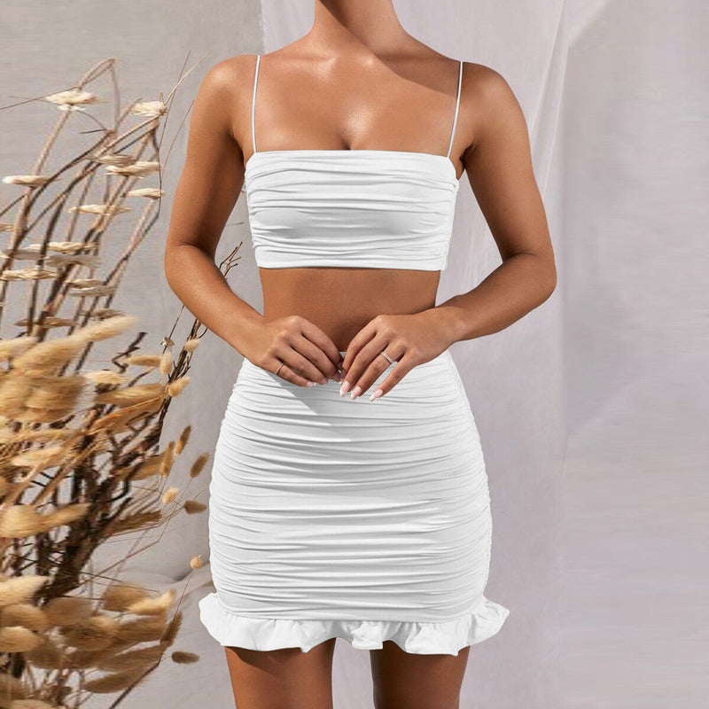 Ruffle Two Piece Set Strapless Off Shoulder White 2 Piece Set Dress Women Sleeveless Sexy Club Party Matching Set