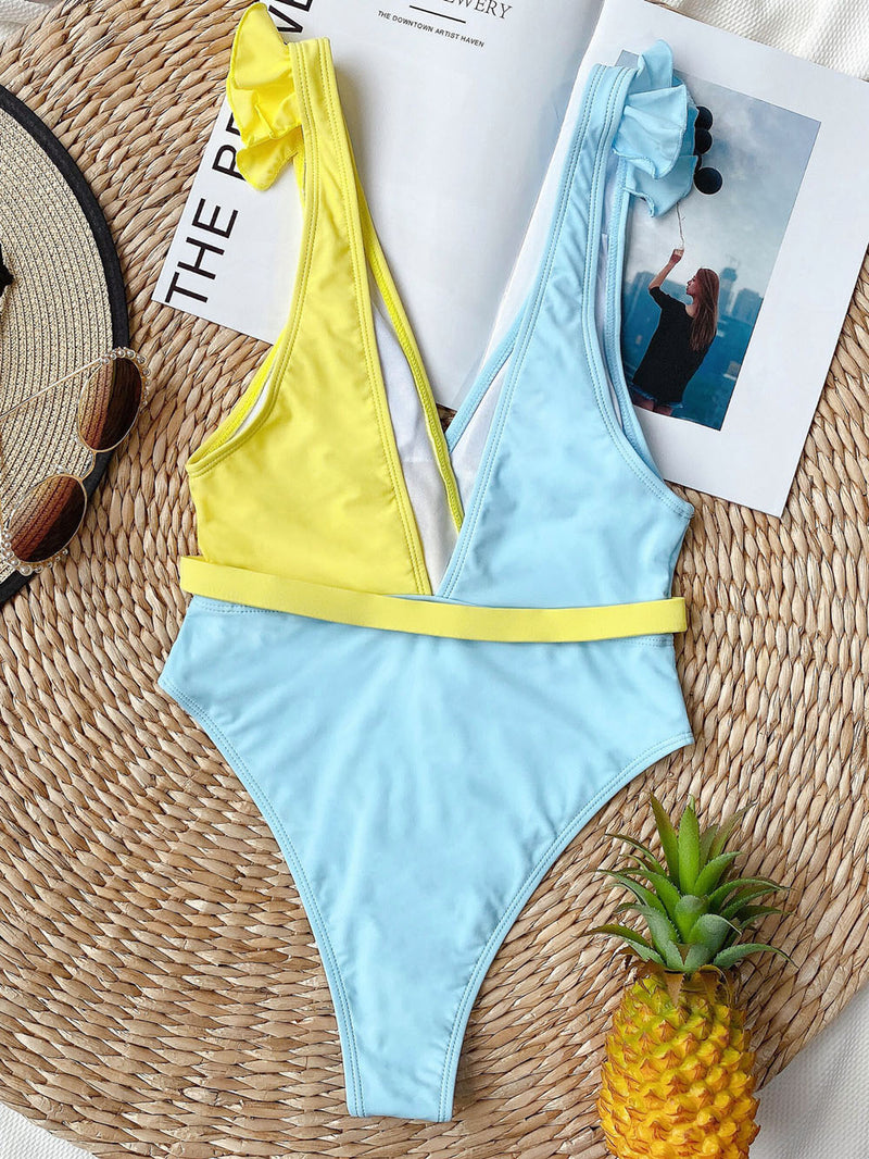 Sexy Shiny One Piece Swimsuit Women Swimwear Female Bather with Belt Bathing Suit Swim