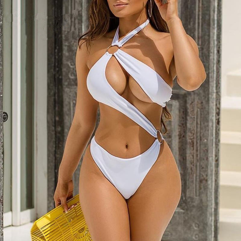 Sexy Extreme Brazilian Swimsuit Women Halter One Piece Bodysuits Hollow Out Micro Swimwear