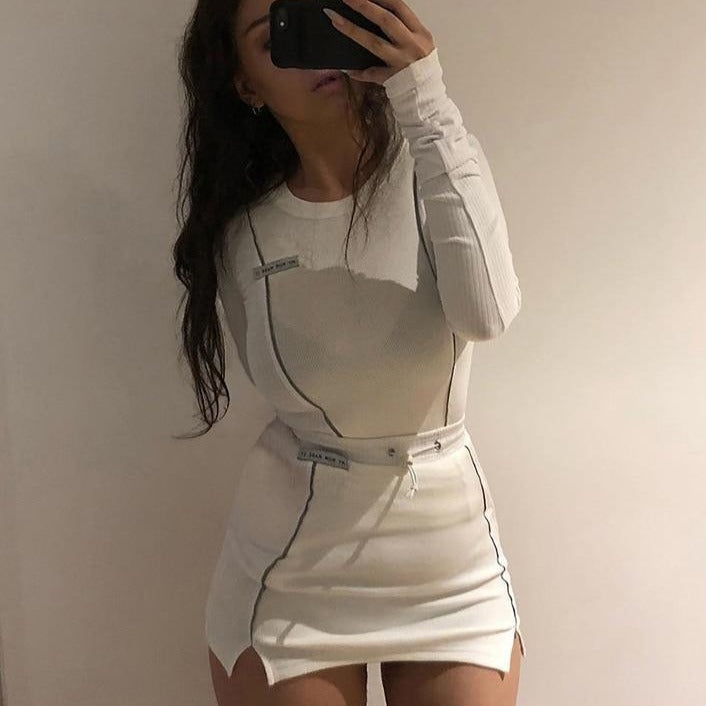 Casual Fashion Reflective Striped Two Piece Outfits Women Long Sleeve Top And Mini Skirt Sets 2020 White Matching Set