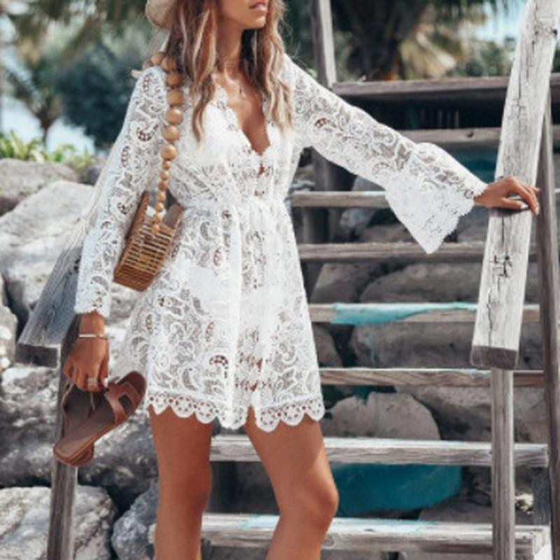 Beach Blouse Women Bikini Tops Lace tunic Hollow Out Crochet Tassel Robe Cover Up Kimono Cardigan Swimsuit